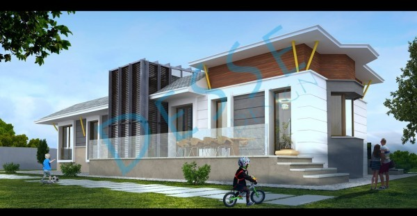 3d Dış Cephe Yeşil Köy 3d Villa Modelleme 3d Realistic